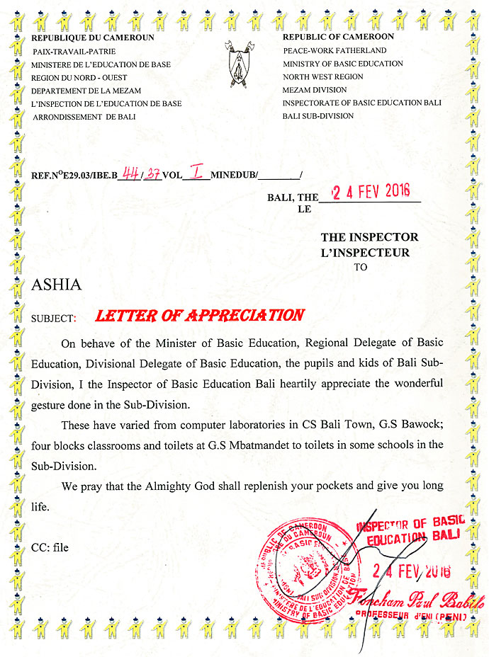 Feedbacks Kamerun Verein Ashia Non-Profit Hilfswerk Kinder Afrika ...